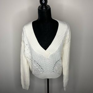 Urban Outfitters White V-neck Knit Sweater medium